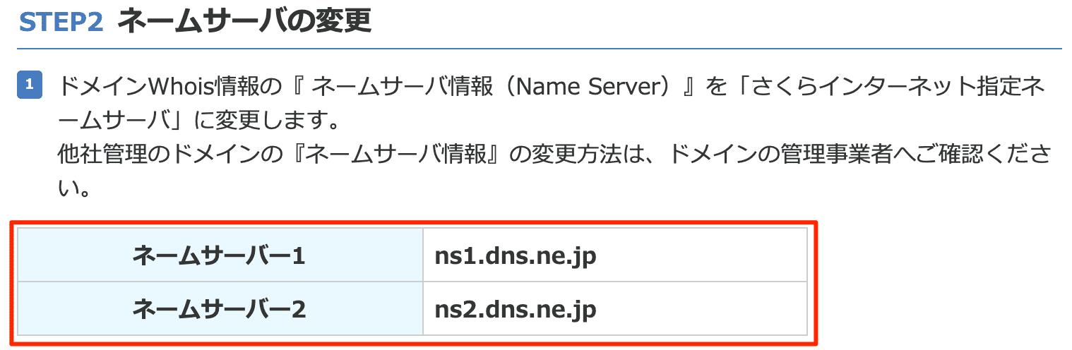 ネームサーバーの情報