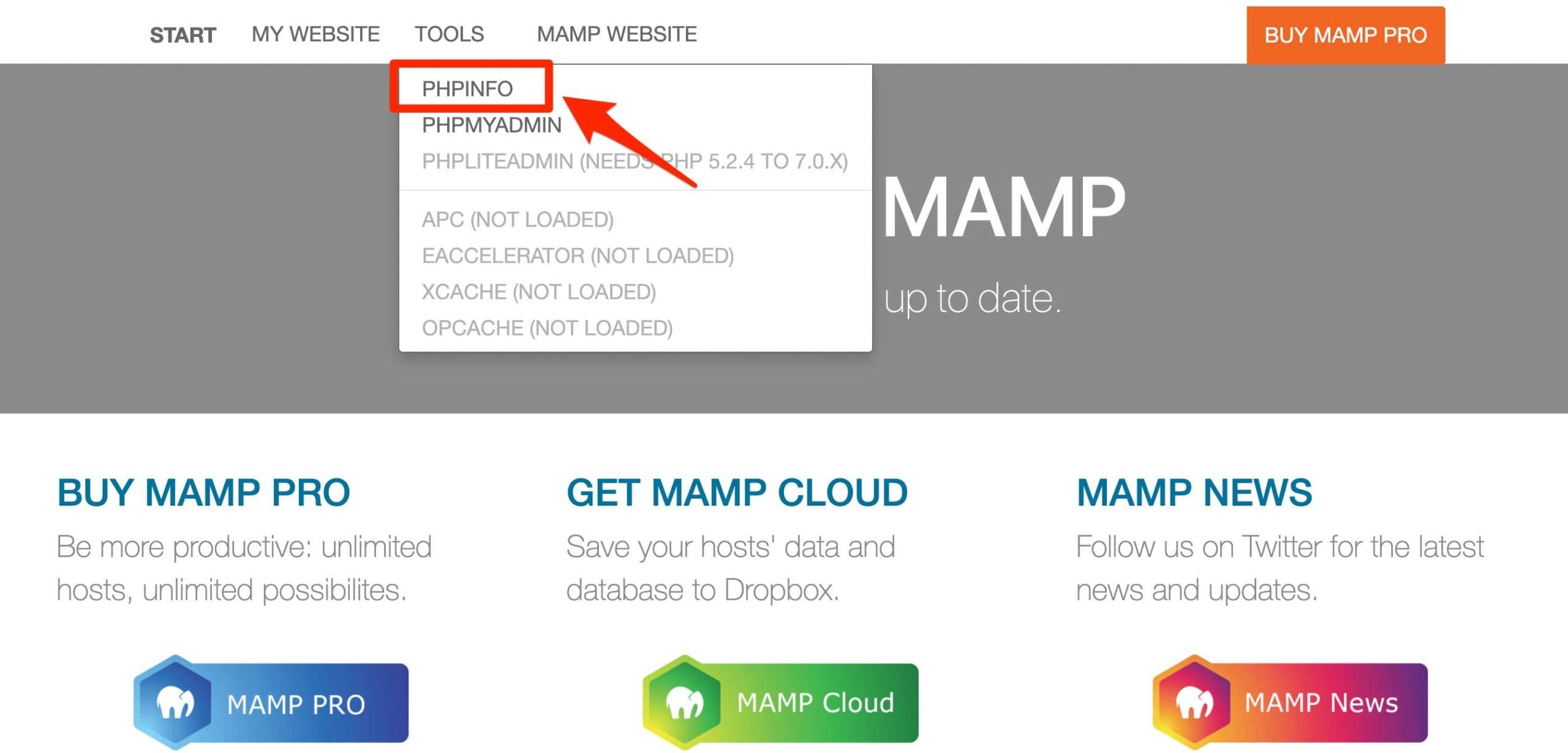 MAMPスタートページ tools