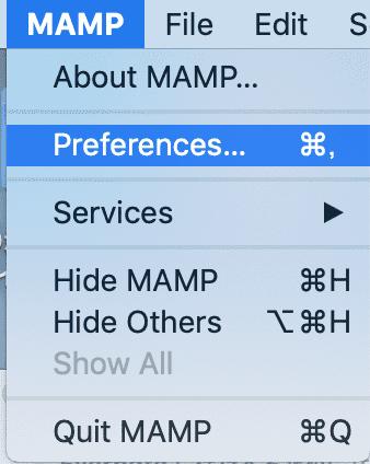 mampの設定画面を開く