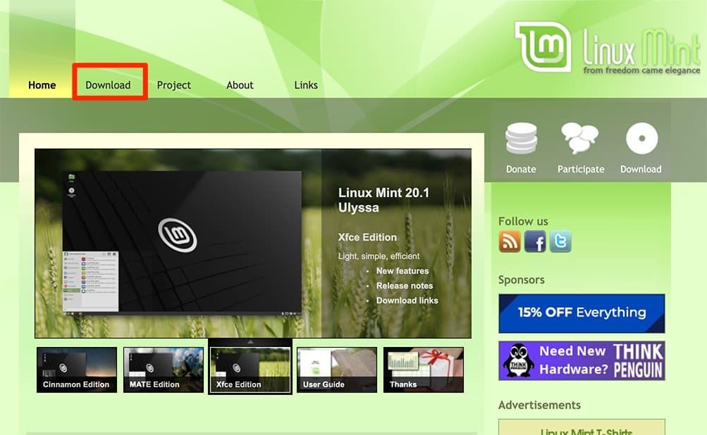 linuxmint公式サイト
