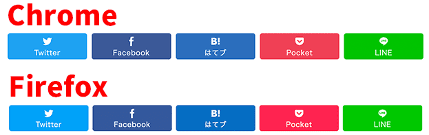 chromeとfirefoxでsnsシェアボタンの色を比べた画像