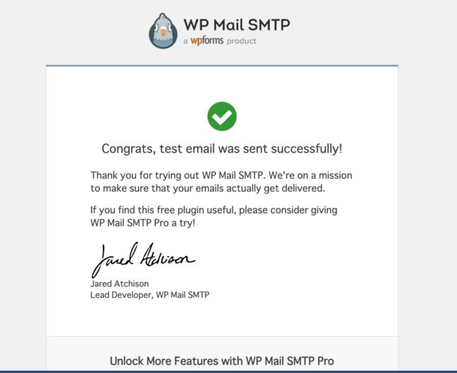 テストメール送信成功